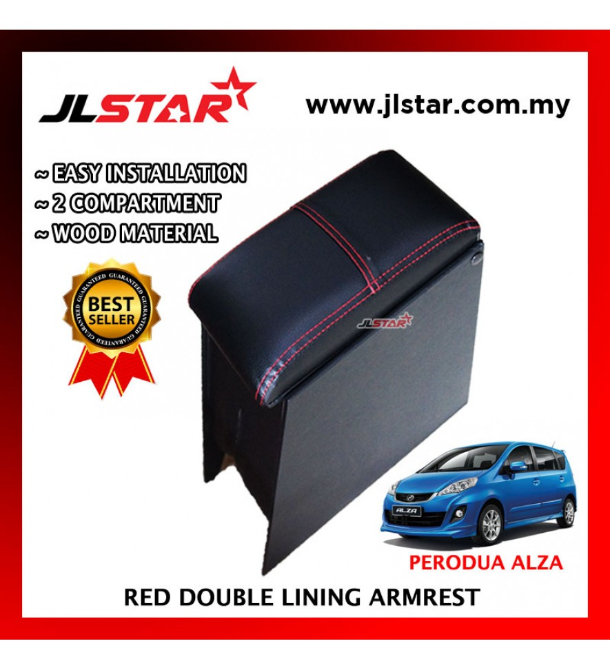 PERODUA ALZA CUSTOM FIT PVC ARMREST WITH RED LINE