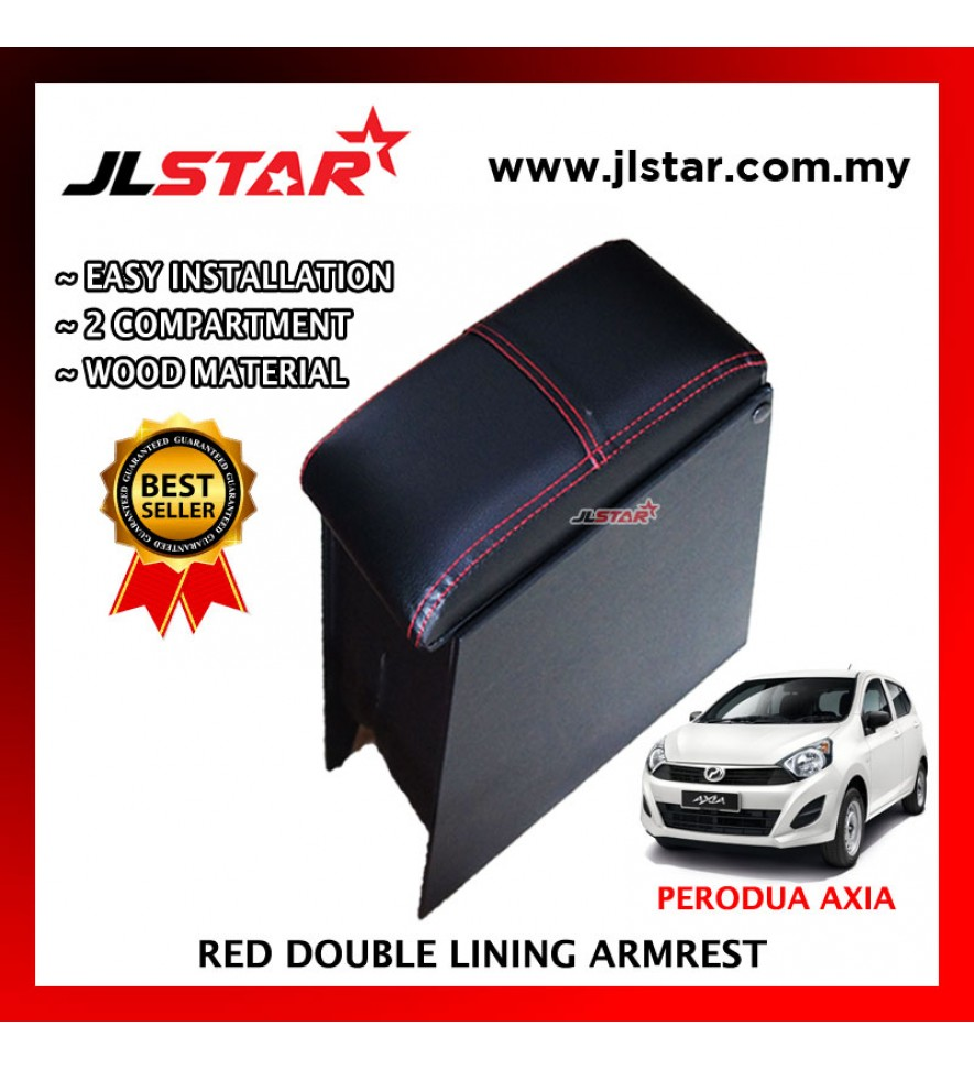 PERODUA AXIA CUSTOM FIT PVC ARMREST WITH RED LINE