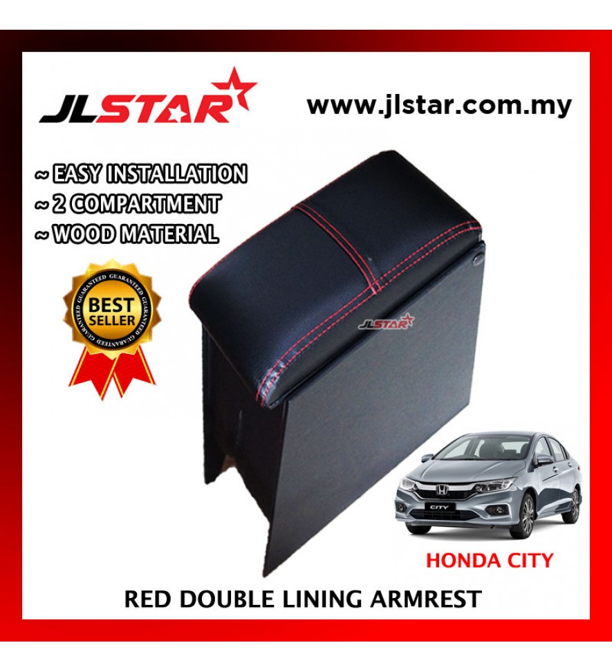 HONDA CITY CUSTOM FIT PVC ARMREST WITH RED LINE