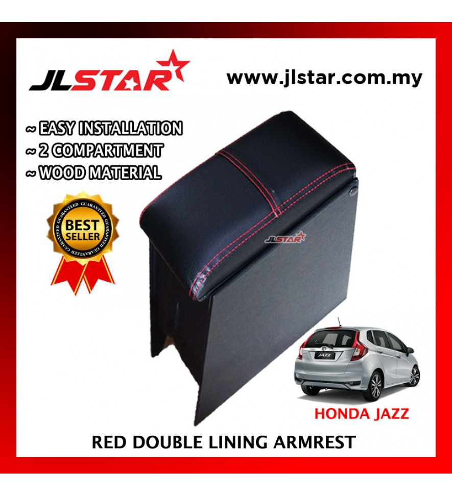 HONDA JAZZ CUSTOM FIT PVC ARMREST WITH RED LINE