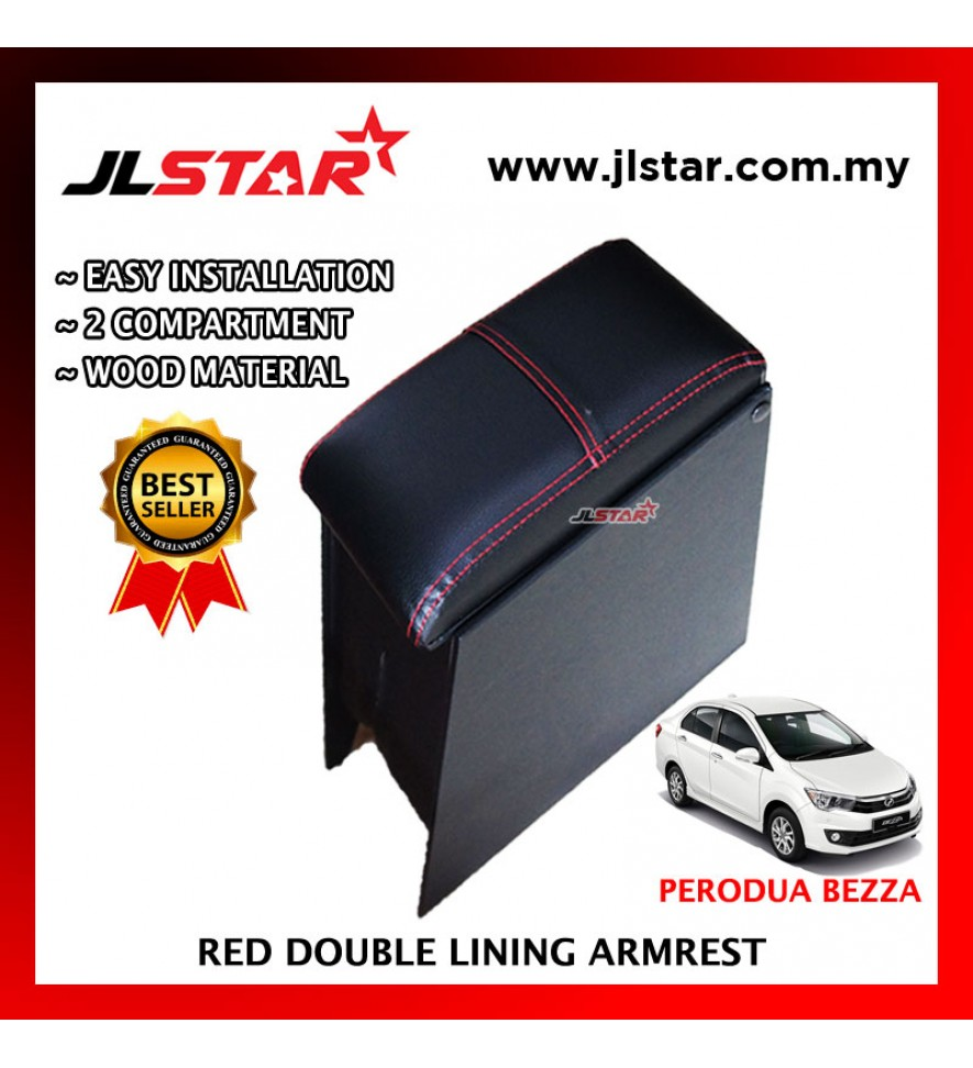 PERODUA BEZZA CUSTOM FIT PVC ARMREST WITH RED LINE