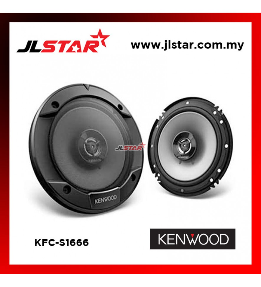"KENWOOD KFC-S1666 6.5"" 300W 2 WAY COAXIAL CAR SPEAKERS"