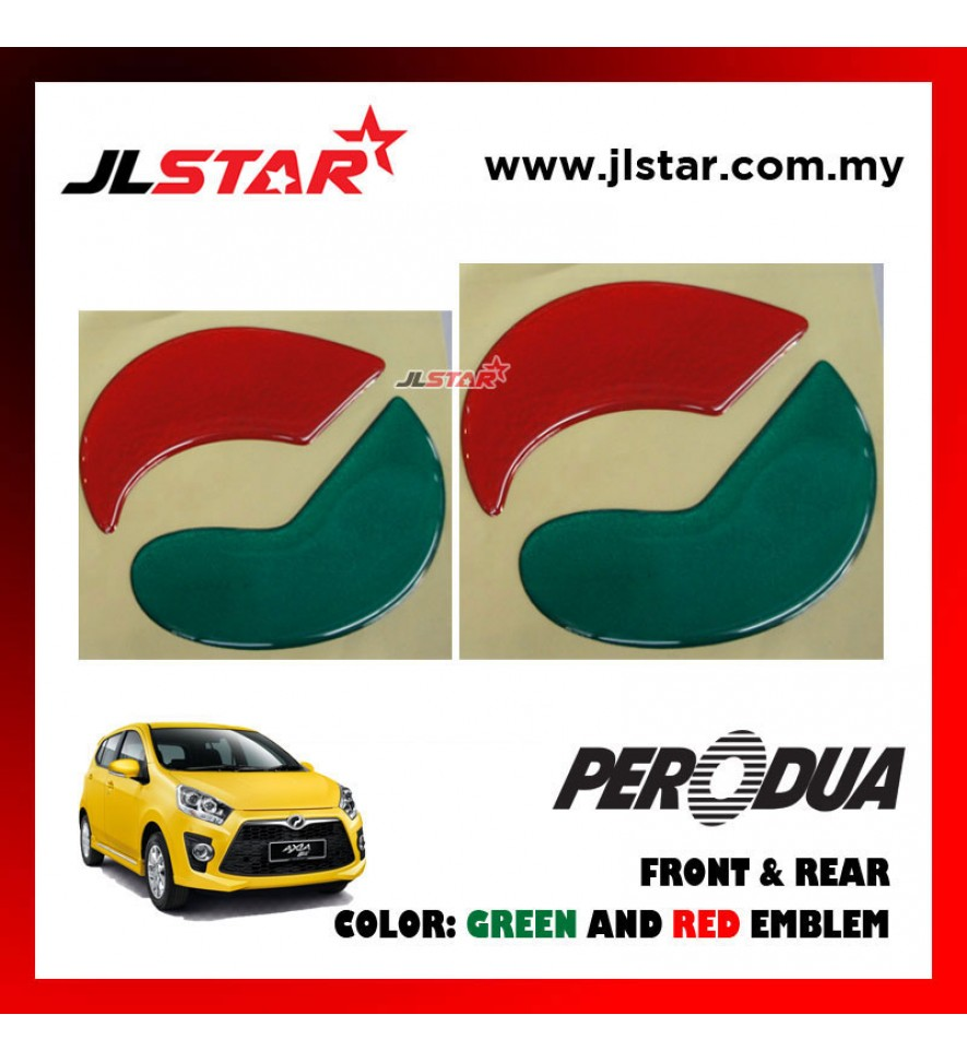 PERODUA AXIA OLD EMBLEM LOGO 2PCS FRONT & REAR STICKER