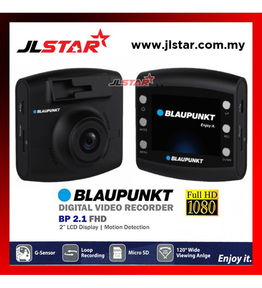 BLAUPUNKT DIGITAL VIDEO RECORDER (DVR) BP2.1 FHD CAR DASH CAM 120 DEGREE WIDE