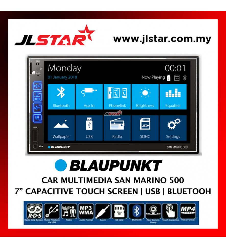 "BLAUPUNKT 7"" CAR MULTIMEDIA SAN MARINO 500 DOUBLE DIN 2-DIN HEAD UNIT RADIO PLAYER"