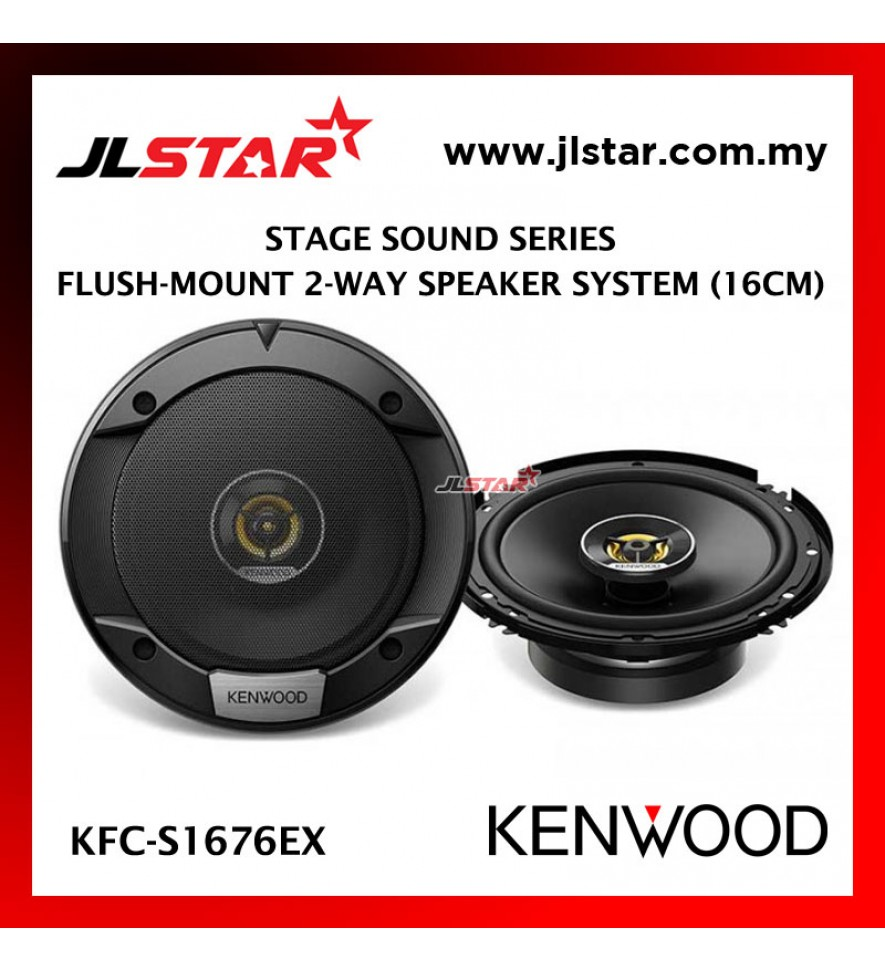 KENWOOD KFC-S1676EX STAGE SOUND SERIES FLUSH-MOUNT 2 WAY SPEAKER SYSTEM 16CM