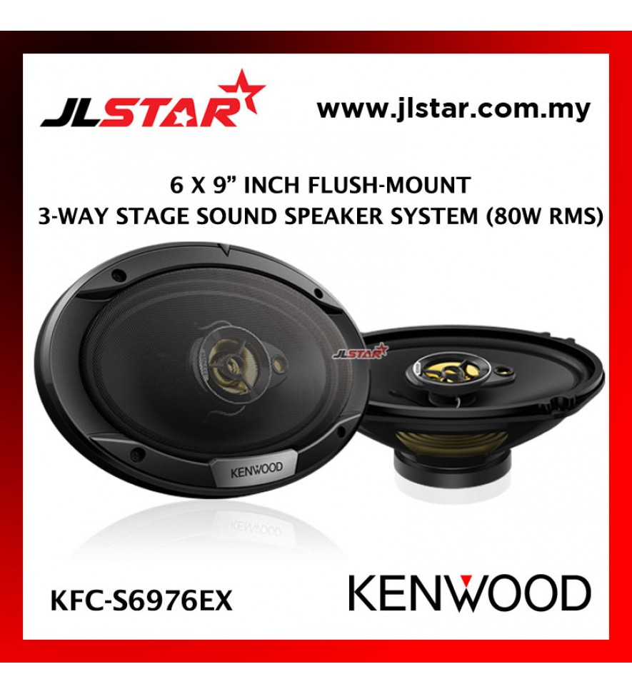 KENWOOD KFC-S6976EX 6 X 9 INCH FLUSH-MOUNT 3 WAY STAGE SOUND SPEAKER SYSTEM 80W RMS