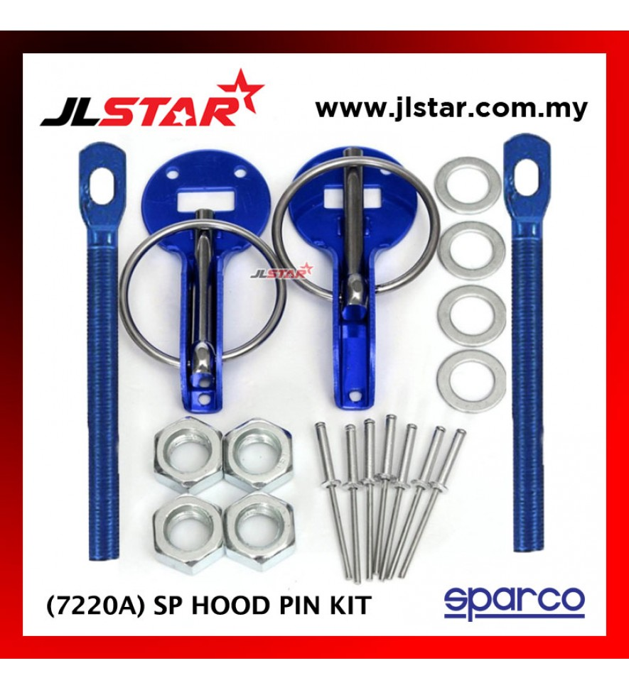 SPARCO 7220A SP CAR BONNET HOOD PIN KIT LOCK MOUNT SECURITY LATCH RACING COLOR BLUE