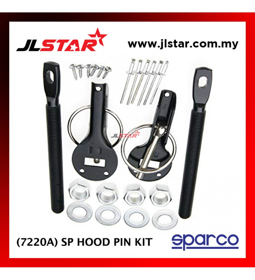 SPARCO 7220A SP CAR BONNET HOOD PIN KIT LOCK MOUNT SECURITY LATCH RACING COLOR BLACK