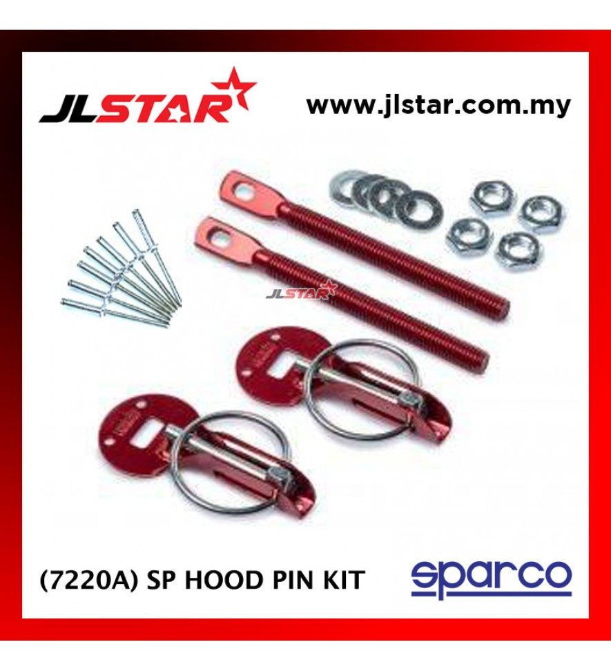 SPARCO 7220A SP CAR BONNET HOOD PIN KIT LOCK MOUNT SECURITY LATCH RACING COLOR RED