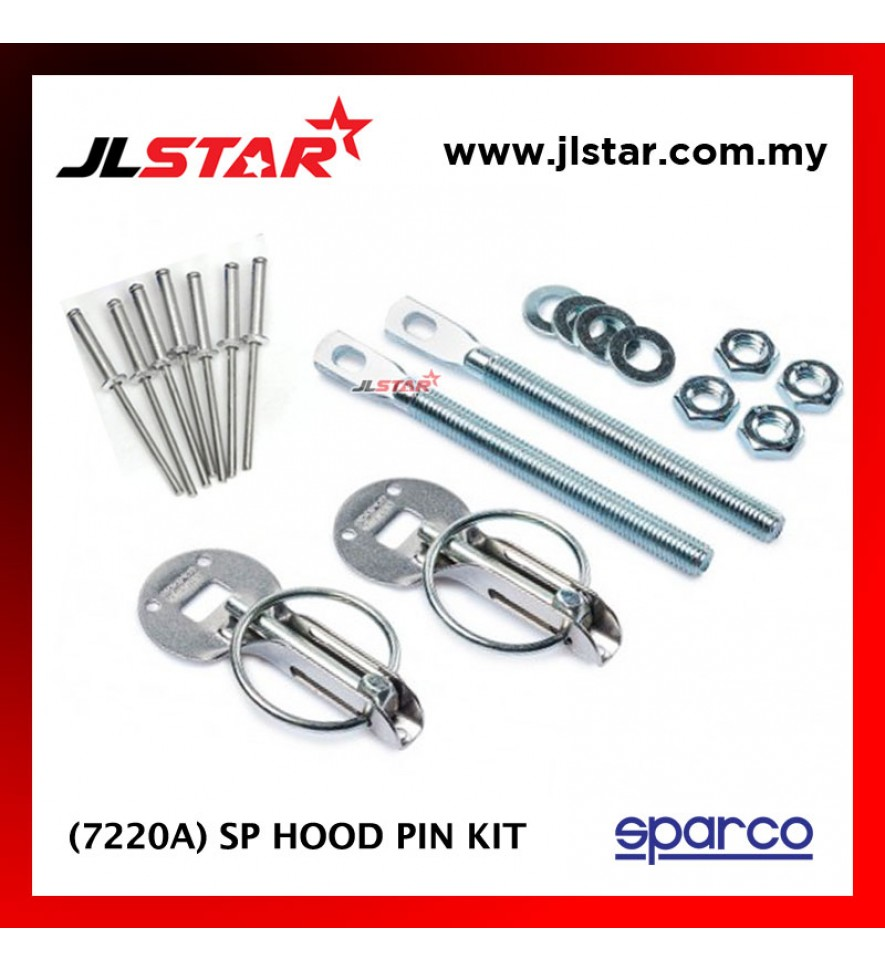 SPARCO 7220A SP CAR BONNET HOOD PIN KIT LOCK MOUNT SECURITY LATCH RACING COLOR SILVER