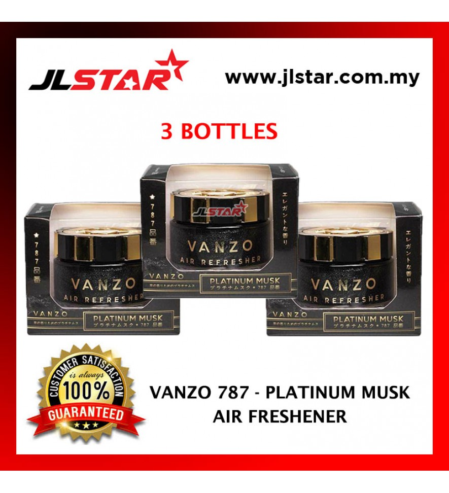 3 X VANZO 787 PLATINUM MUSK AIR FRESHENER